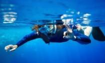 Snorkeller in sea