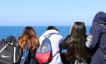 Students looking at ocean