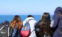Students looking at ocean