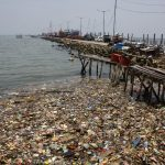 Plastic waste is seen on the north coast of Jakarta, Indonesia on Thursday