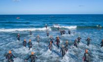 Triathlon start in the ocean