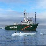 Greenpeace boat in Antarctica