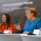 Iceland's Prime Minister Katrin Jakobsdottir, left, and German Chancellor Angela Merkel speak to the media after a Nordic government leaders meeting, in Reykjavik, Tuesday Aug. 20, 2019.