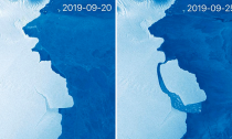 The EU's Sentinel-1 satellite system captured these before and after imagesThe EU's Sentinel-1 satellite system captured these before and after images.