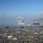 A garbage-strewn beach in Mumbai, India