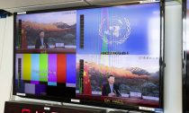 China's President Xi Jinping addressing the UN via video link