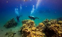 Scuba divers at a coral reef while on a dive in the Red Sea waters off the coast of Israel's southern port city